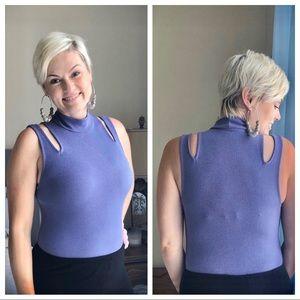 Infinity Lavender Cold Shoulder Bodysuit SZ S